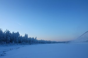 На реке в раоне мирового полюса холода