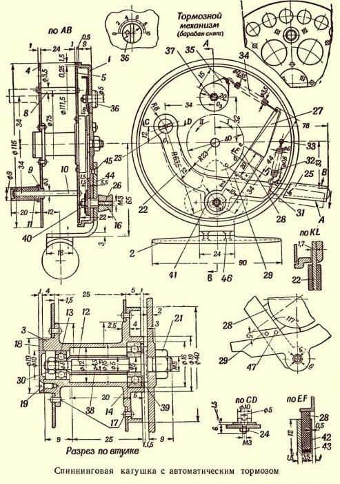 Спиннинговая кагушка с автоматическим тормозом