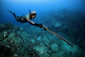Процесс подводной рыбалки